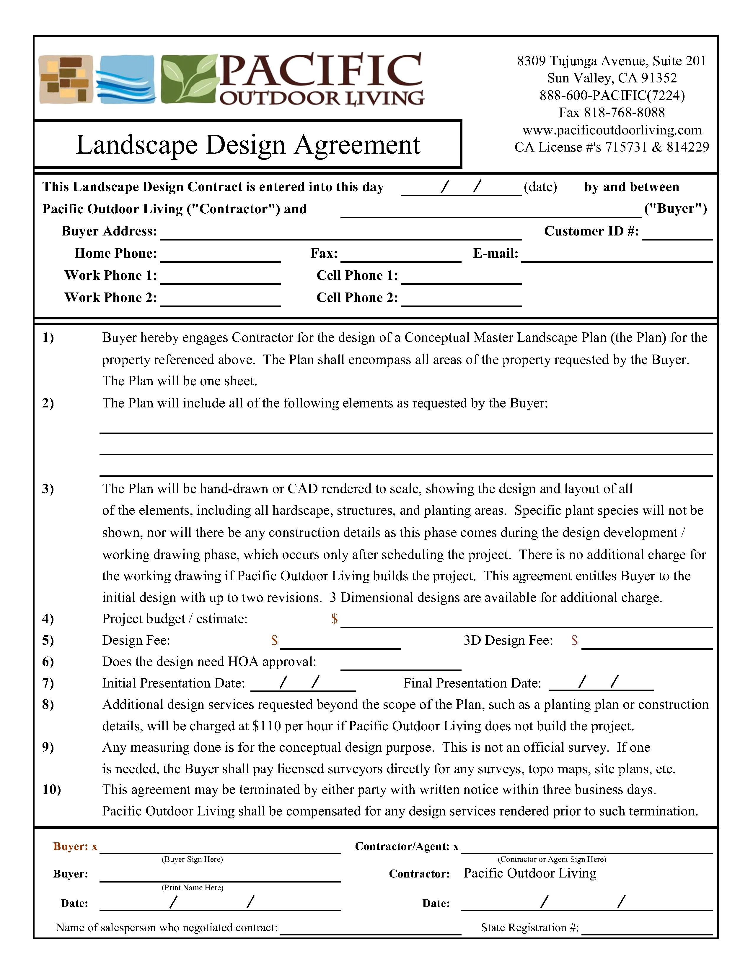 Landscape Design Agreement Pacific Outdoor Living Academy
